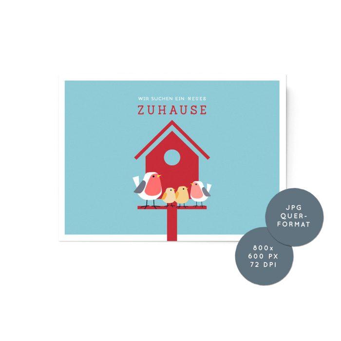 neues zuhause gesucht - grafik für online plattformen